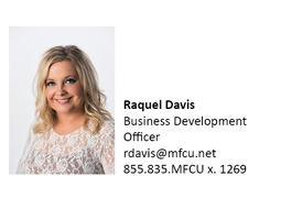 A picture of Raquel Davis who is a Business Development Officer at MFCU.