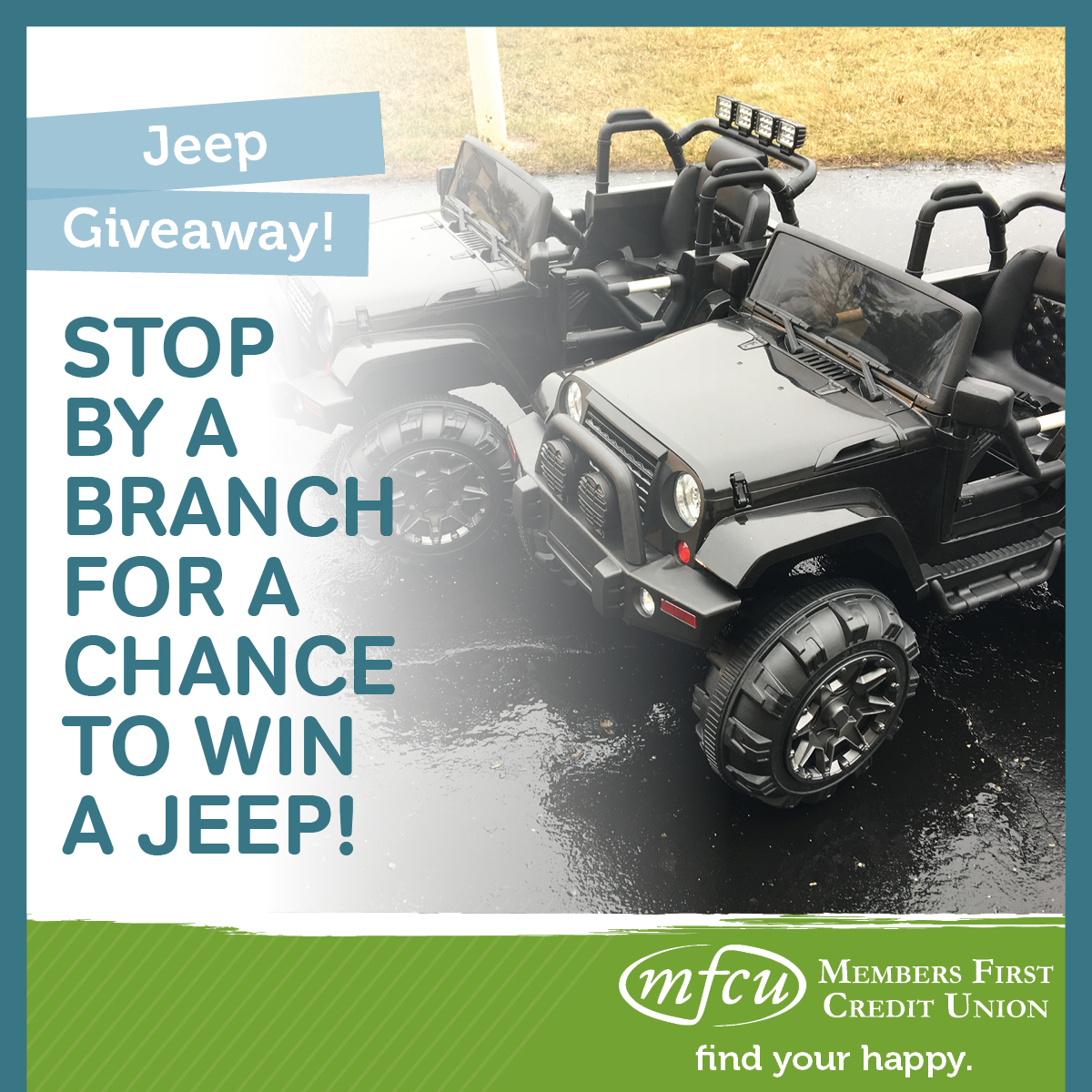 Jeep Credit Union >> Kids Jeep Giveaway Members First Credit Union