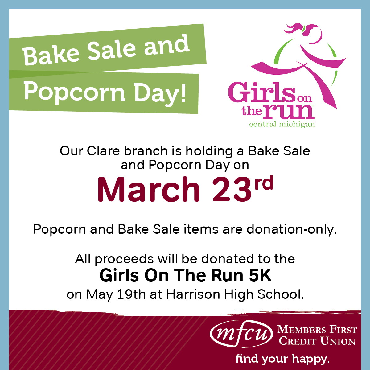 Clare Bake Sale and Popcorn Day